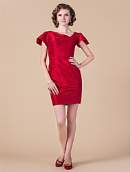 Sheath/Column V-neck Short/Mini Taffeta Mother of the Bride Dress