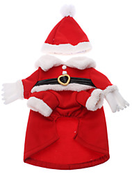 Christmas Santa Claus Style Costumes Coat for Dogs Cats (XS-XL)