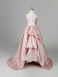 A-line / Ball Gown / Princess Floor-length / Court Train Flower Girl Dress - Taffeta Sleeveless Straps with Flower(s) / Ruching