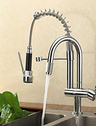Contemporain Pull-out / Pull-down Montage Douche / Avec spray démontable with  Valve en céramique Mitigeur un trou for  Chromé , Robinet