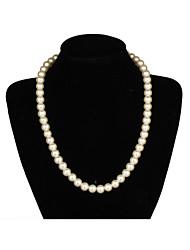 Elégant Une couche Ivory Pearl Necklace femmes