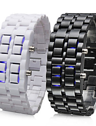 Couple's Blue LED Lava Style Plastic Band Digital Wrist Watches (Black & White, 1-Pair)