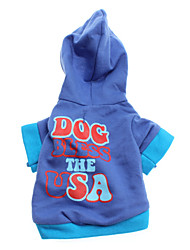 Dog Bless The USA Stil Französisch Terry Hoodies for Dogs (Blue, XS-L)