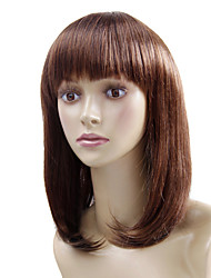 Capless Medium Brown Wavy High Quality Synthetic Japanese Kanekalon European Style Wigs