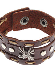 Z&X®  Cruciate Flower Rivet Leather Bracelet