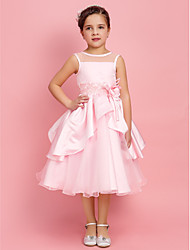 A-line Ball Gown Princess Tea-length Flower Girl Dress - Organza Satin Jewel with Beading Bow(s) Flower(s)