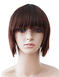 Capless Short Brown Straight High Quality Synthetic Japanese Kanekalon Christmas Parties Wigs