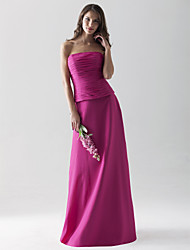 Lanting Bride® Floor-length Chiffon Bridesmaid Dress - Sheath / Column Strapless Plus Size / Petite with Ruching