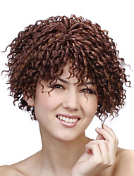 Capless Short Brown Curly High Quality Synthetic Wigs
