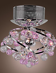 Crystal Semi Flush Mount with 4 Lights in Purple