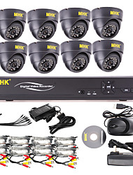 MHK ® -8 Channel One-Touch Online CCTV DVR mit 8 Indoor-Dome-Kamera