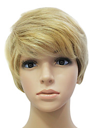 Capless 100% Human Hair Golden Short Straight Hair Wig