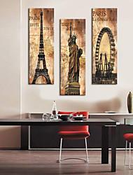 étiré toile impression vintage architecture de la tour eiffel, statue de la liberté et de la grande roue jeu de 3 1301-0215