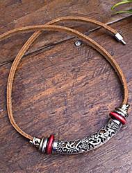 Gargantilla de cuero hecho a mano única Vintage (Longitud: 45 cm)