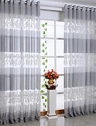 país dos paneles gris hoja salón cortinas transparentes de poliéster tonos