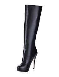 Leatherette Stiletto Heel With Platform Knee High Boots Party / Evening Shoes