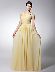 Sheath / Column Straps Floor Length Chiffon Bridesmaid Dress with Draping Pleats Ruching by LAN TING BRIDE®