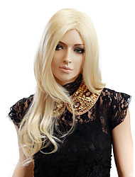 Capless Long Golden Blonde Wavy High Quality Synthetic Hair Wigs