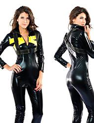 Swift Heroine Schwarz und Gelb Polyester Racer Catsuit