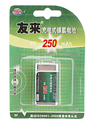 Youlai 9V 250 mAh NI-MH Rechargeable Battery