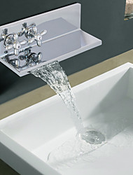 Contemporânea acabamento cromado Dois Handle Ellipse Cachoeira torneira da pia do banheiro (Duplo como Shelf)