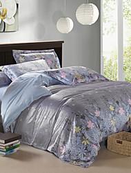 Modern Gray Floral Velvet Full 4-Piece Duvet Cover Set