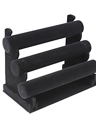 Triple Layer Black Velvet Armband T-Bar Jewelry Display Stand Rack