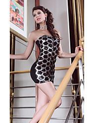 Elegante mulheres Bandeau vestido de lantejoulas Espumante (Comprimento: 66cm Busto :86-102 centímetros Cintura :58-79 Hip :90-104cm)