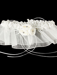 Garter Satin / Tulle Flower White