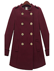 Women's Coat,Solid Long Sleeve Winter Wool / Others Medium