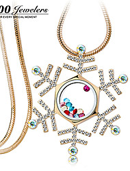 T400 White Snowflake Synthetic Crystal K Gold Plating Long Necklace