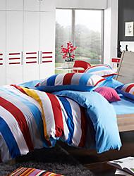 Morden Red/Blue Stripe Flannel Full / Queen / King 4-Piece Duvet Cover Set