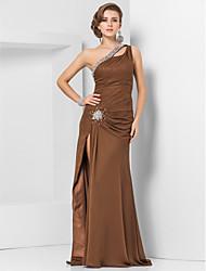 Gaine / colonne une épaule longueur du sol robe de soirée en mousseline avec perles par ts couture®