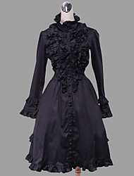 One-Piece/Dress Gothic Lolita Lolita Cosplay Lolita Dress Solid Long Sleeve Medium Length Dress For Cotton