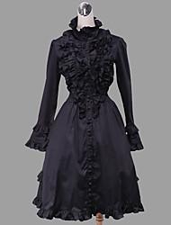 Uma-Peça/Vestidos Gótica Lolita Cosplay Vestidos Lolita Cor Única Manga Comprida Comprimento Médio Vestido Para Algodão