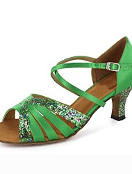 Customized Women's Satin Ankle Strap Latin / Ballroom Dance Shoes With Sparkling Glitter(More Colors)