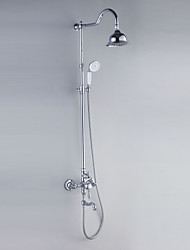 Personalized Shower Faucets Chrome Finish Contemporary Style  with Diameter 16cm Shower Head + Hand Shower
