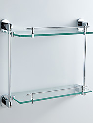 De style contemporain, fini chrome en laiton Support Mural Double couche de verre