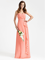 LAN TING BRIDE Floor-length Chiffon Bridesmaid Dress - Sheath / Column Strapless / Sweetheart Plus Size / Petite