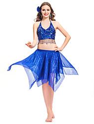 wonmen dancewear chiffon com lantejoulas barriga mais cores disponíveis roupa