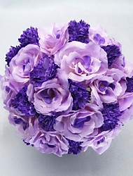 "Wedding Flowers Round Roses Bouquets Wedding Party/ Evening Satin Cotton Purple 9.84""(Approx.25cm)"