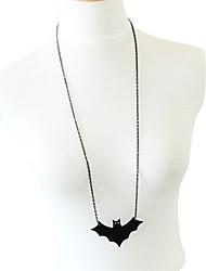 Black Bat Alloy Long Necklace