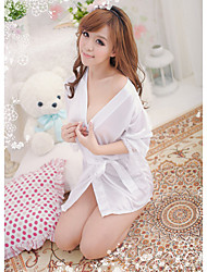 Women Robes Nightwear Solid Others Satin Lace Pink Purple White Black