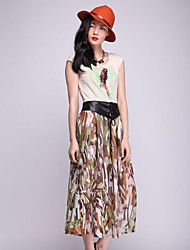 Color Print PU Leather Belt Long Skirt(Mustard)