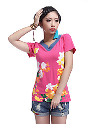 Soulsky V Neck Short Sleeve Flower Print Cotton T-Shirt