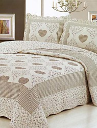 3-Piece Heart Floral Washed Cotton Quilt Set
