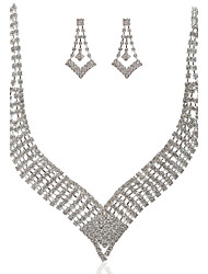 Marvelous Czech Rhinestones With Alloy Plated Wedding Bridal Necklace And Earrings Jewelry Set