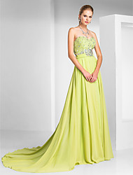 Formal Evening Dress - Open Back A-line Princess Strapless Sweetheart Sweep / Brush Train Chiffon with Beading Sash / Ribbon Split Front