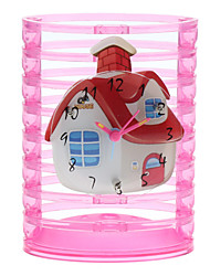 House Style Analog Alarm Clock Pencil Vase (Pink)