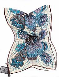 QTHY Classic Floral Print Long Scarf(Blue)